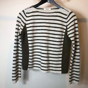 MADEWELL Gray green stripe zipper top size xs